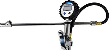 Plews /& Edelmann 17-877 Professional Digital Inflator Gauge with 20 Hose, Swivel, and Clip On Chuck