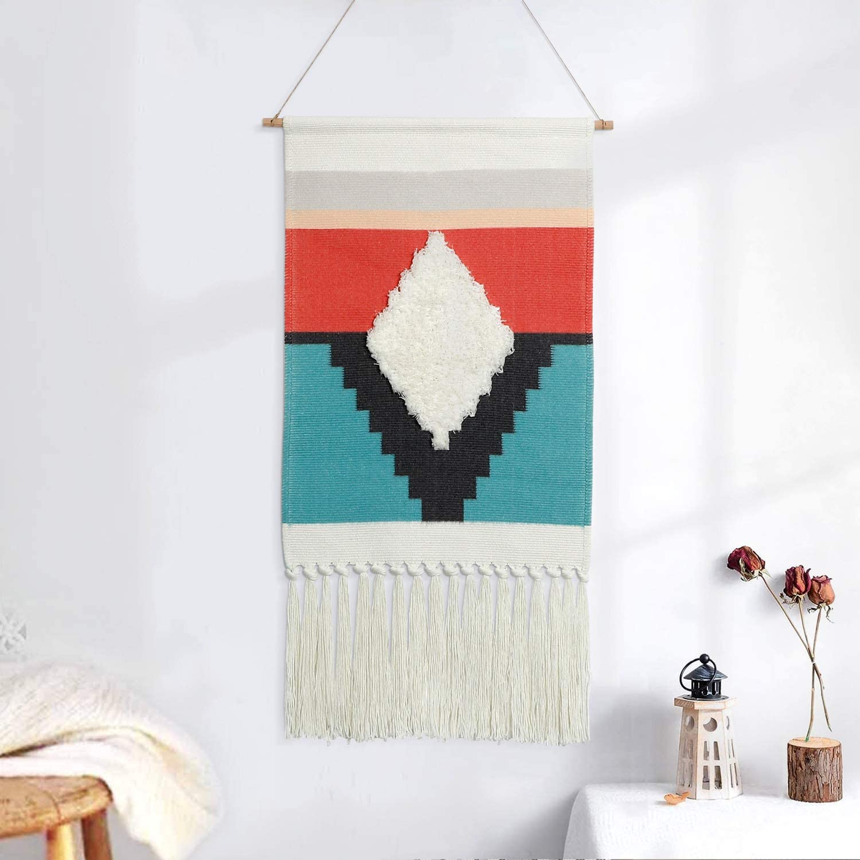 "Dremisland Macrame Woven Wall Hanging Tapestry- Boho Chic Bohemian Tassel Woven Tufted Wall Art Decor - Beautiful Apartment Dorm Room Door Decoration, 17.7"" W x 32"" L"