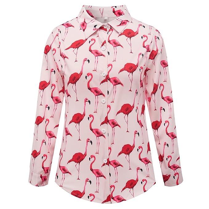 fcda7fd1b6215 Women Shirt Flamingo Printing Chiffon Ladies Tops Blusas Feminina Blouses