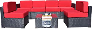 Mcombo Patio Furniture Sectional Set Outdoor Wicker Sofa Lawn Rattan Conversation Chair with 6 Inch Cushions and Tea Table(Red) 6082-7PC