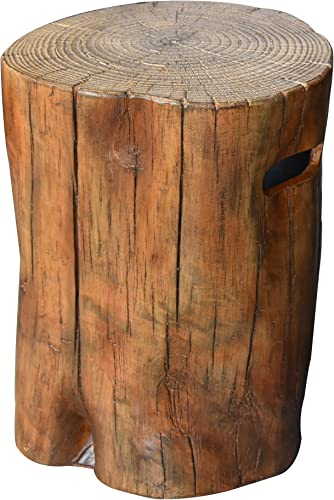 Elementi Manchester Redwood Propane Tank Cover Fire Pit Round 19 in. Concrete Side Table Fits Standard 20 Pound Propane Tank Hideaway Table