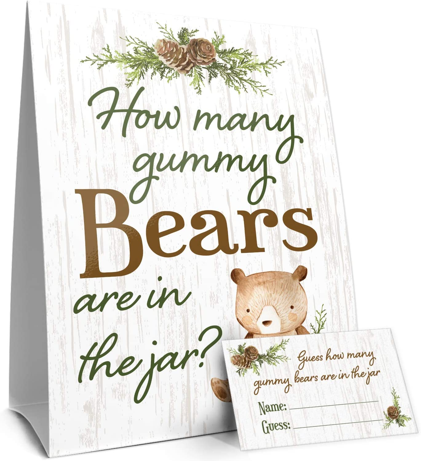 Guess How Many Gummy Bears Woodland Baby Shower Game - Standing Sign and 30 Cards