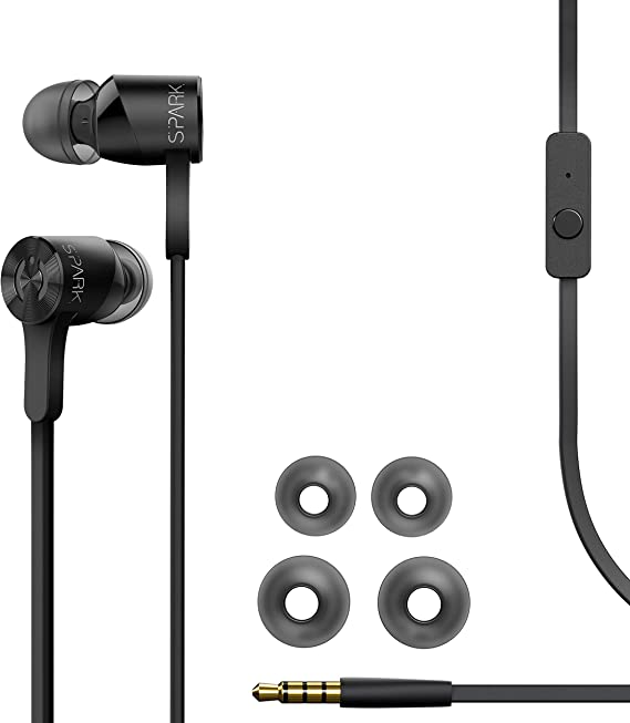 MuveAcoustics Spark Wired in-Ear Headphones - Sports Noise Cancelling Stereo Earbuds with Mic