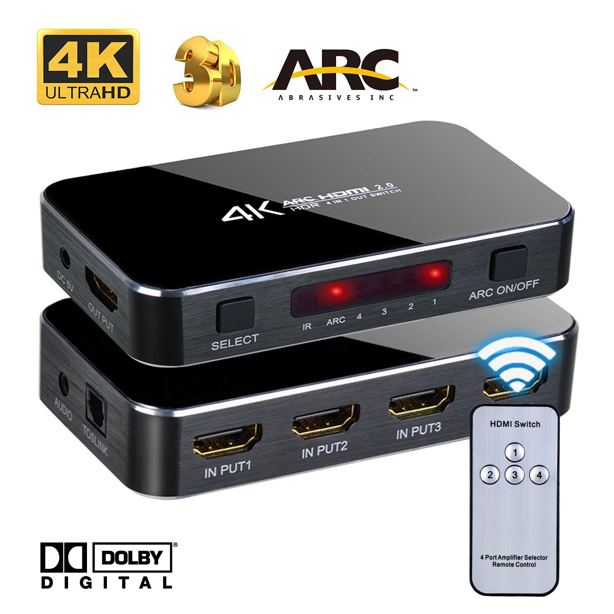 4K HDMI Switch Selector, 4 input 1 output 3D Support, ARC Audio Extractor, with Optical Toslink Audio Out for Home Theater/Multimedia Presentation/HDTV / DVD / PS3 / PS4 / STB/Bluray Player etc by Iseebiz