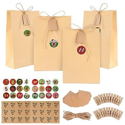Bolsas de regalo navidad, GIKPAL Bolsas de Regalo de Papel con 48 Pegatinas para Bodas, Cumpleaños o Fiestas de Navidad, Dulces Papel para Envolver ...