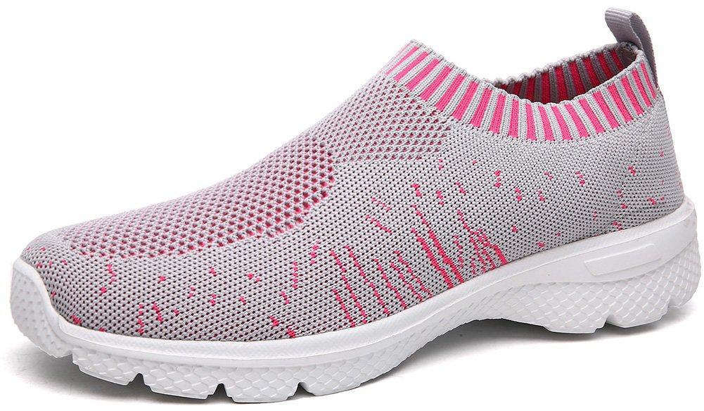 SHAKE Women's Breathable Athletic Casual Mesh Running Walking Shoes Lightweight Sneaker for Women (12 US=Women EU 42, GreyΠnk)