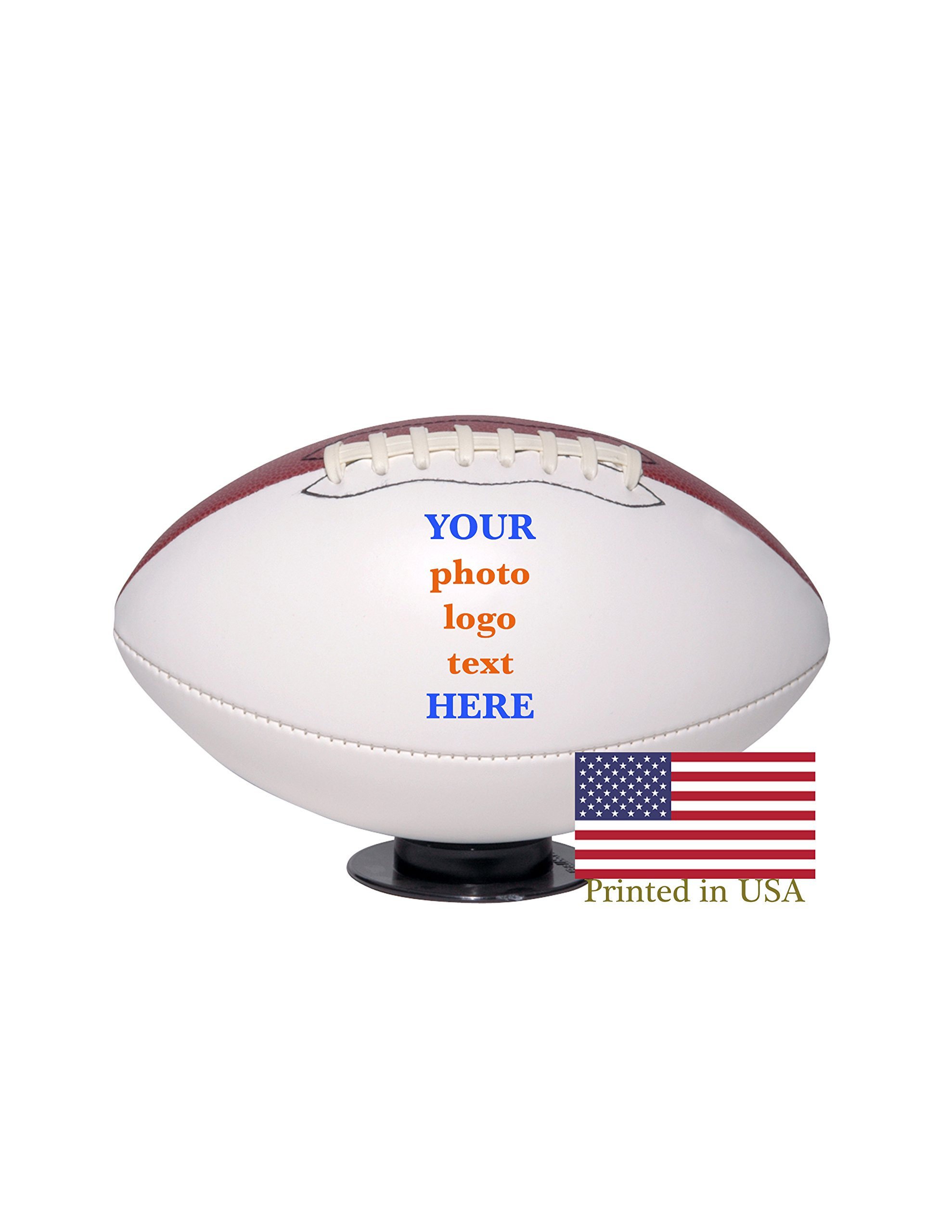Custom Personalized Football Full Size Ships in 3 Business Days, High Resolution Photos, Logos & Text on Football Balls for Players, Trophies, MVP Awards, Coaches