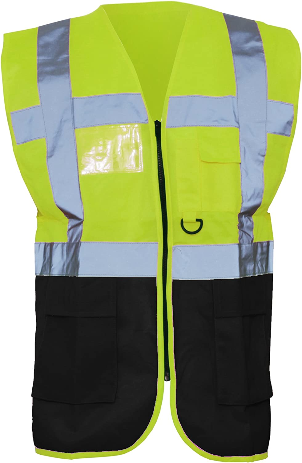 S Pack of 2 Red//Hi Vis Yellow Yoko Hi-Vis Premium Executive//Manager Waistcoat//Jacket