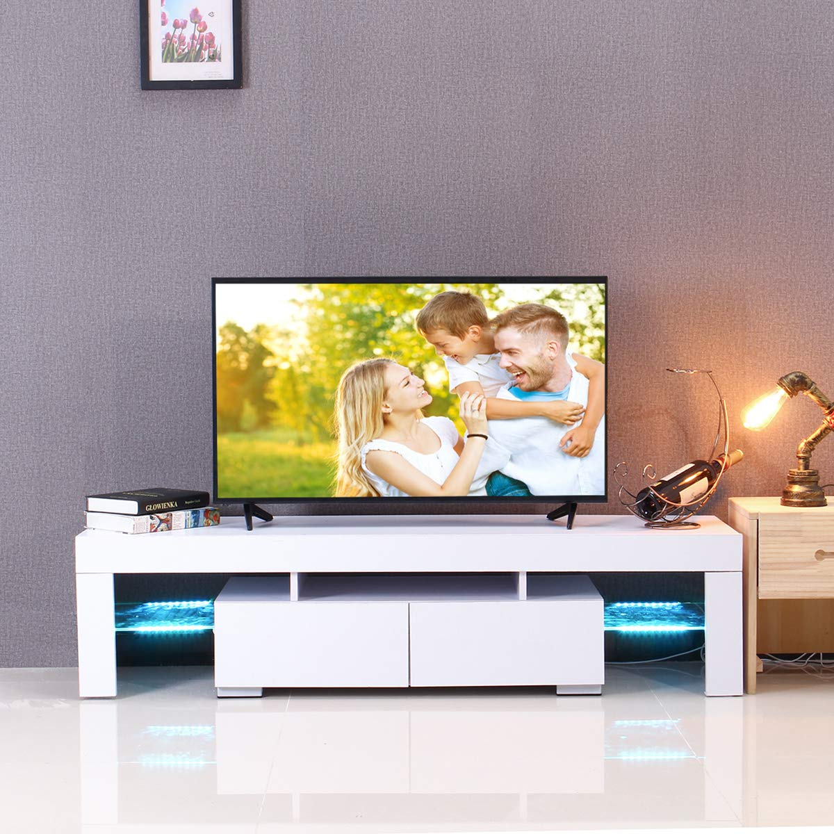KINGSO TV Stand with LED Lights, Modern TV Stand with Open Storage Shelf Drawers, High Gloss TV Stand Living Room Furniture White