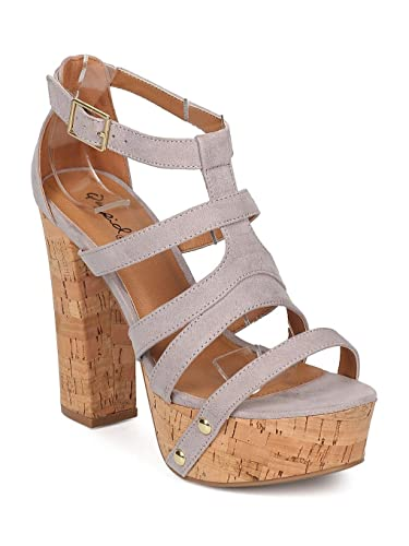 455fe2243741 Qupid Women Faux Suede Open Toe Strappy Cork Platform Block Heel Sandal  GF19 - Light Grey