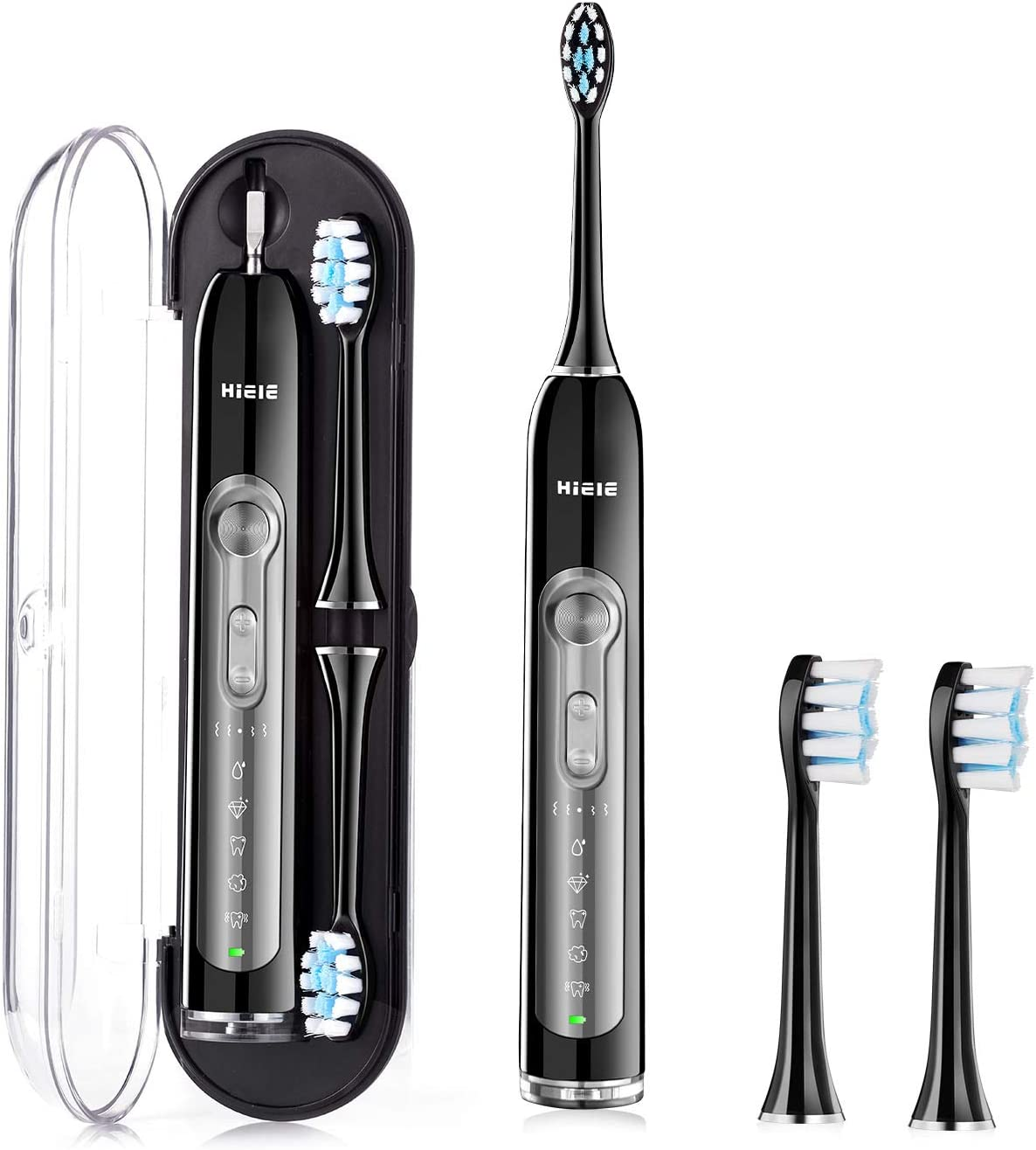HIEIE Sonic Electric Toothbrush, USB Rechargeable Toothbrush Travel with 2 Replacement Heads, 5 Brushing Modes with 2 Minutes Timer, IPX7 Waterproof Black