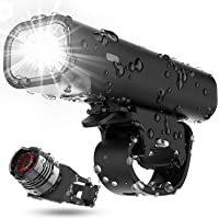 Bike Light Set USB Rechargeable Bicycle Lights, 400 Lumen Super Bright Headlight Front Lights and Red Back Rear LED, 3…