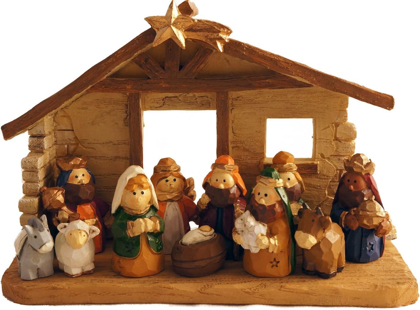 Amazon Com Miniature Kids Christmas Nativity Scene With Creche Set Of 12 Rearrangeable Figures Home Kitchen