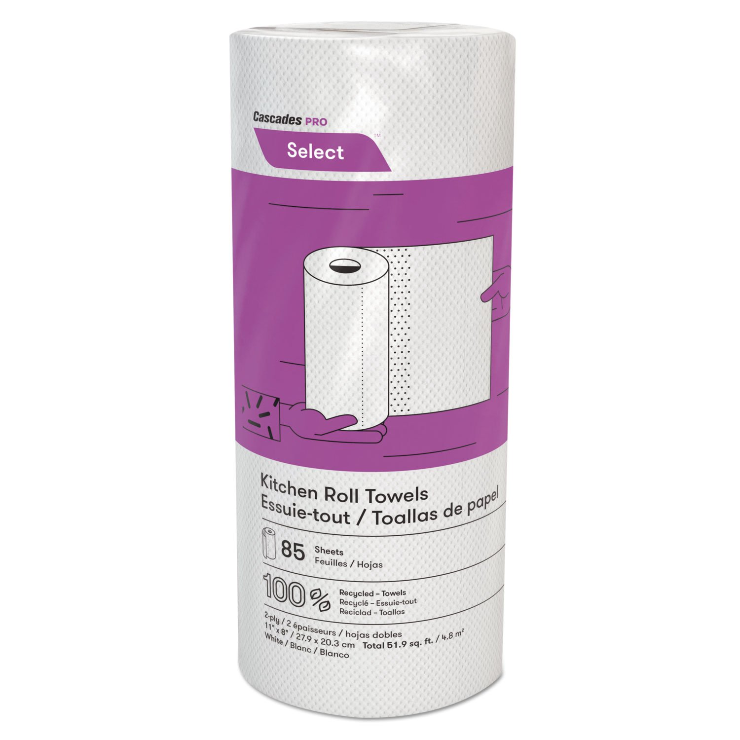 Cascades PRO K085 Select Kitchen Roll Towels, 2-Ply, 8 x 11, 85/Roll, 30/Carton