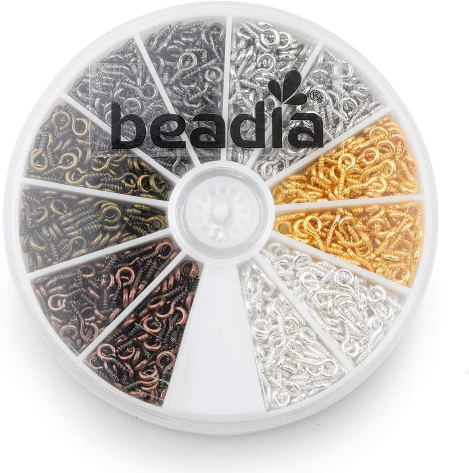 6 Colors 600pcs BEADIA Small Screw Eye Pins 4mmx8mm for Jewelry Making Handmade DIY