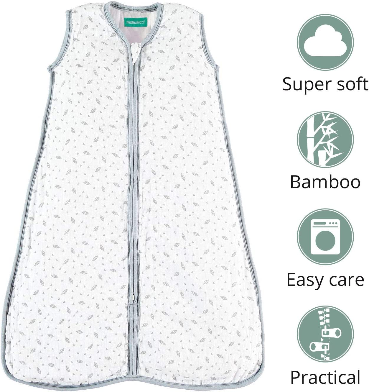 Unisex Kiwi Print 1.0 TOG Lightly Padded Baby Sleeping Bag molis/&co Super Soft and Warm Premium Muslin Grow Bag for Babies. 18-36 Months