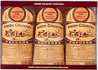 product image for Amish Country Popcorn | 3 (1 Lb Bags) Ladyfinger Kernels Gift Set | Old Fashioned with Recipe Guide