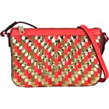 MILLY Dylan Woven Leather Crossbody, Orange/Gold