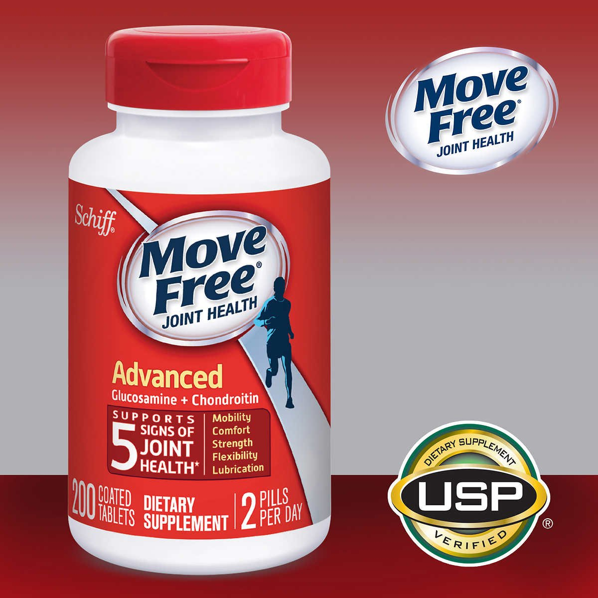 Move Free Advanced Joint Health Supplement Tablets, Move Free (200 Count in a Bottle), 4 Pack