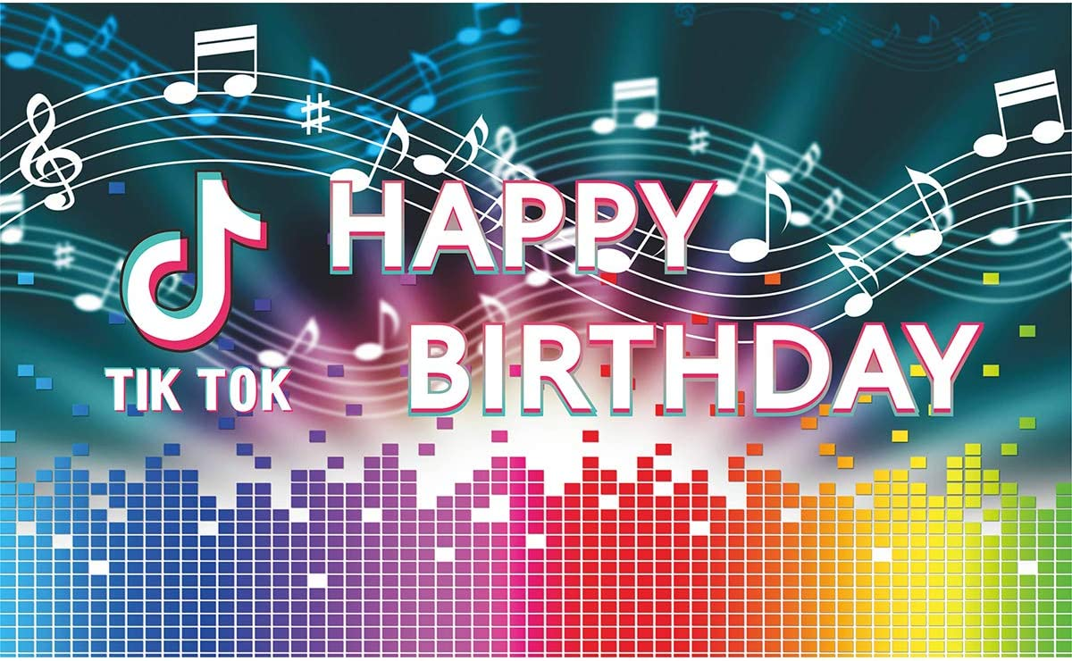 Happy Birthday Banner Poster for Birthday Party Decorations Music Theme Happy Birthday Banner Backdrop