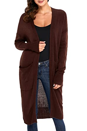 30292f952147d2 AlvaQ Maxi Long Knit Sweater Duster Cardigans for Womens with Pocket Plus  Size Juniors Brown