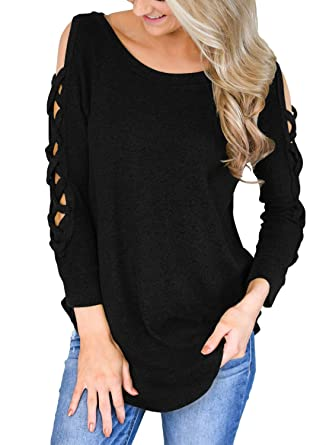 Astylish Women's Cold Shoulder Cut Out Blouse Criss Cross Long Sleeve Tops  T Shirts Black Small