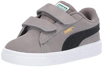 meet ccfe5 7126a PUMA Baby Suede Classic Velcro Sneaker, Charcoal Gray- Black, 4 M US Toddler