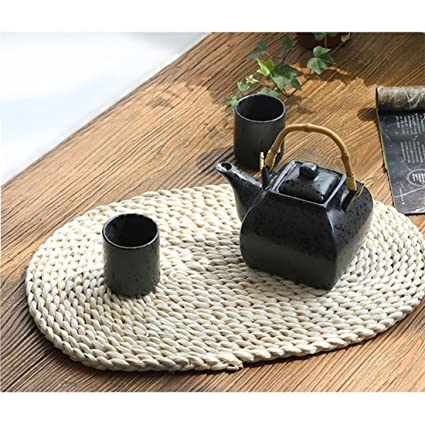 Natural Rattan Placemats Round Oval Woven Tablemats For Dining Table,  Outdoor, 17 X 11u0026quot