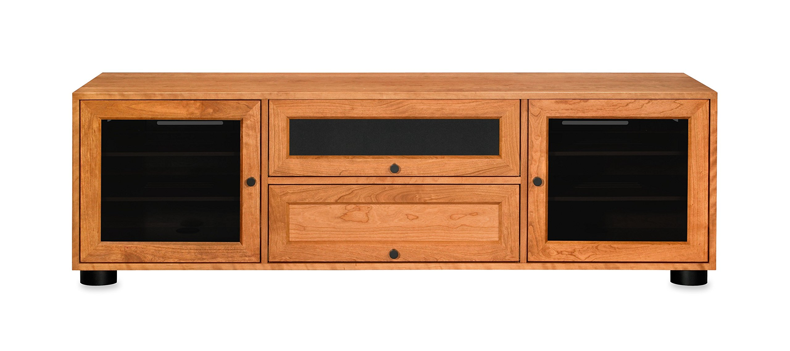 """Majestic EX 70-inch American Solid Wood Media Console/TV Stand/AV Cabinet for Most Flat Screen TVs to 75"""" (Sunrise on Cherry, Black HW) - NO ASSEMBLY REQUIRED - Made in USA using solid American Cherry, Walnut, or Ash hardwoods Configure top drawer space 3 ways: speaker in drawer, bigger speaker (no drawer), or media storage Hidden wheels, lift-off/snap-on backs and ample wire chases deliver easy gear management - tv-stands, living-room-furniture, living-room - 71rt2MabbFL -"""