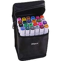 KKmoon Marcadores de 24 cores Caneta de marcação de ponta dupla Desenho Escrita Pintura Marcador sublinhado Artista…