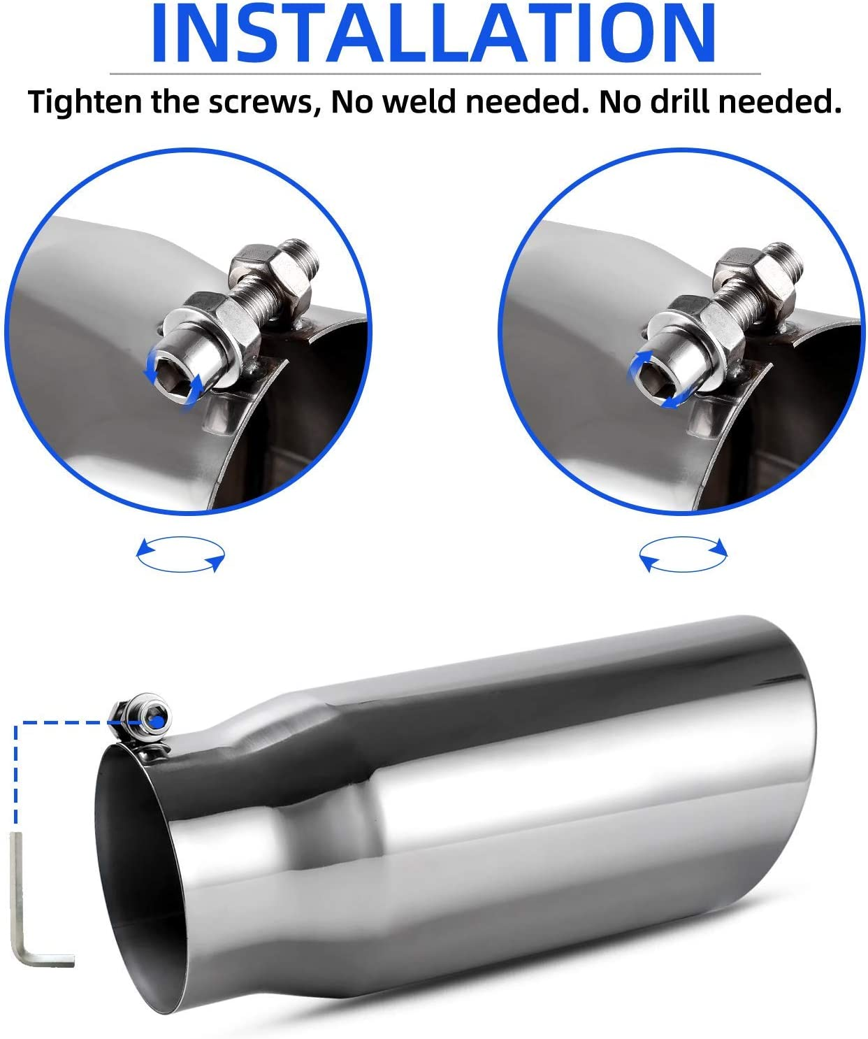 New RA414234 Free Ship Chrome Plated Stainless Steel Exhaust Tip