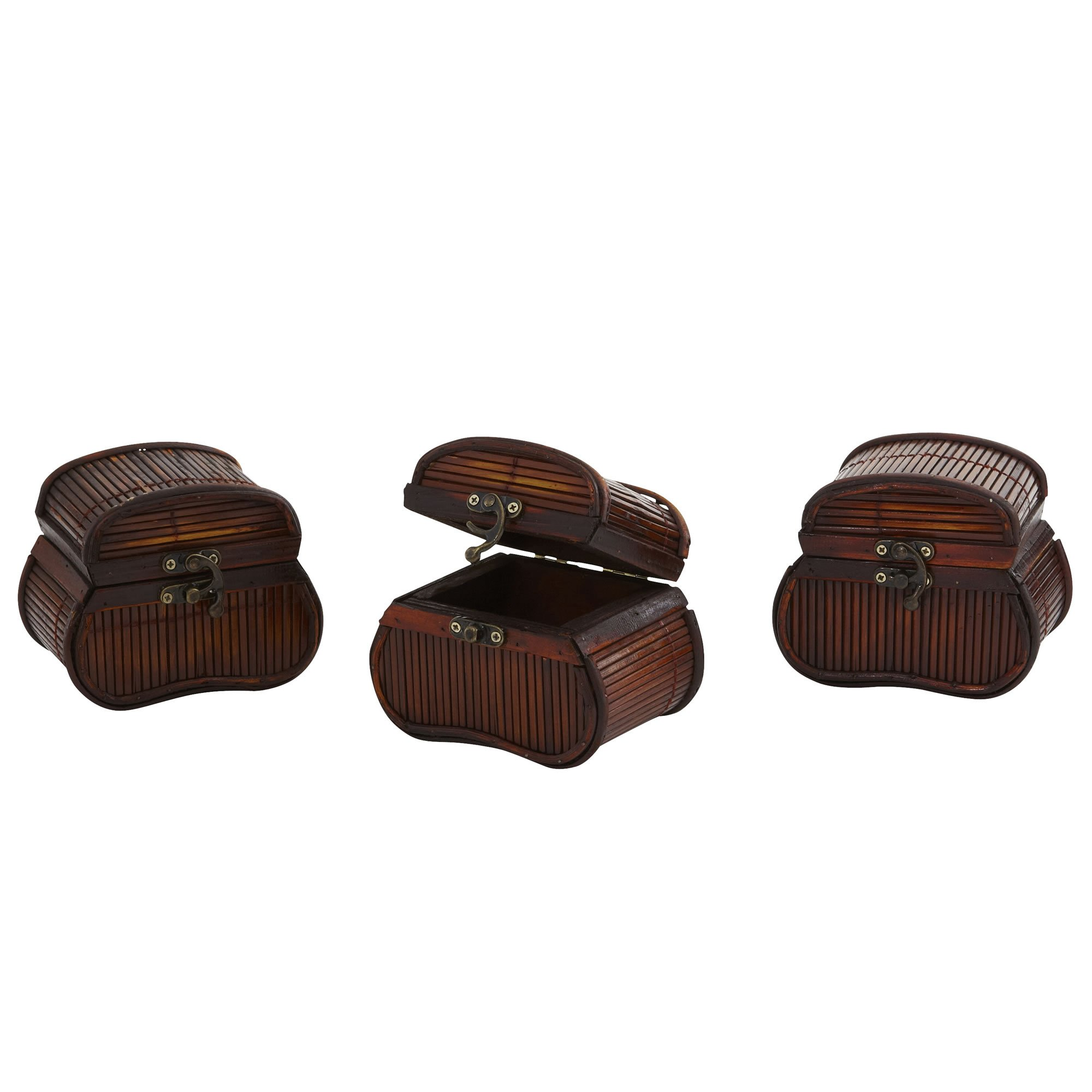 Nearly Natural 0544-S3 Bamboo Chests, Brown, Set of 3