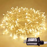 JMEXSUSS 66ft 200 LED String Lights Indoor Outdoor, Warm White Christmas Lights Clear Wire, 8 Modes Waterproof Twinkle Fairy