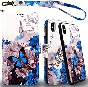 Mefon iPhone X Xs Detachable Leather Wallet Phone Case, with Tempered Glass and Wrist Strap, Enhanced Magnetic Closure, Durable Slim, Luxury Flip Folio Cases for Apple iPhone 10 5.8 (Butterfly 1)