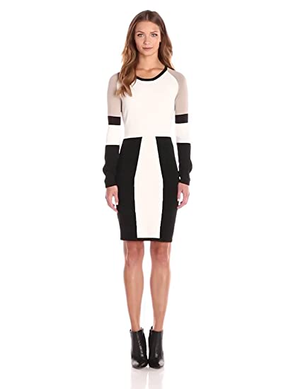 Calvin Klein Womens Color Block Long Sleeve Sweater Dress Cream