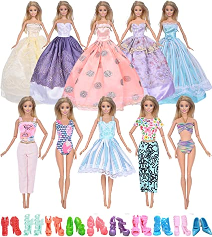 Ebuddy Handmade Ramdon Style Include 5-Sets Mini Clothes Dress For Barbie Doll