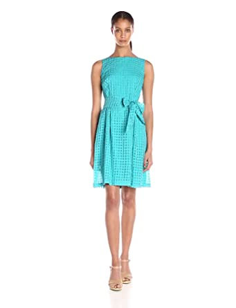 Anne Klein Women's Sheer Gingham Organza Fit and Flare Dress, Azure, 2