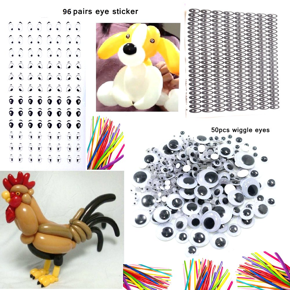 Y wang Magic Balloons Kits, 300Pack Animal Balloons Latex Modeling Twisting Balloons Long Balloons for Animal Shape Party, Clowns, Wedding Decoration(with Pump& Eye Sticker&Wiggle Eyes) by Y wang (Image #5)