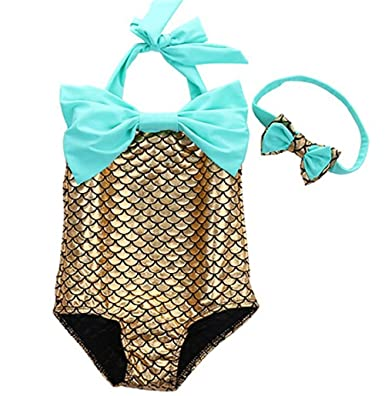 86032ee747609 Amazon.com: Zhongkeyi Girl's One Piece Mermaid Bikini Set Swimwear Swimsuit  Bathing Suit+Headband: Clothing