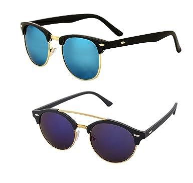 dfa893035e Aventus Combo of Blue Mirror Round Clubmaster Sunglasses and Reflective  Mercury Mirror Blue Clubmaster Sunglasses for Unisex  Amazon.in  Clothing    ...