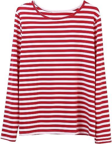 Faithtur Mujeres Rojo Blanco Rayas Manga Larga Casual Cuello Redondo Tops Blusa Casual Rayas Camisetas Camisetas