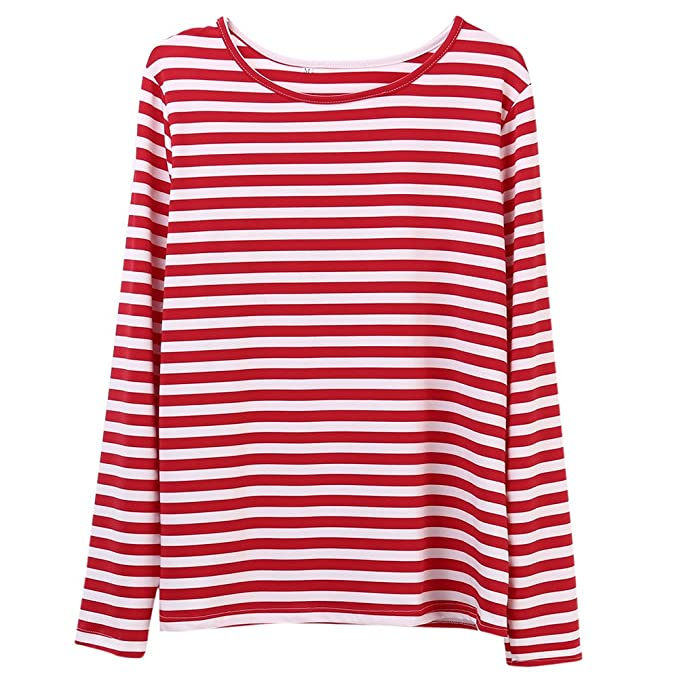 buy popular buy best professional sale Faithtur Women Red White Striped Long Sleeve Casual Crewneck Tops Blouse