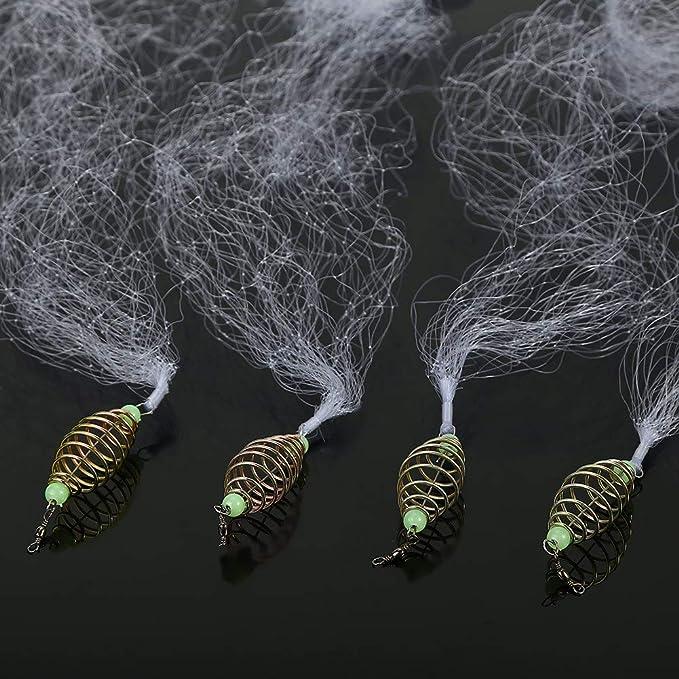 1PC Fishing Net Trap Luminous Bead Copper Spring Shoal Fishnet Tackle Netting