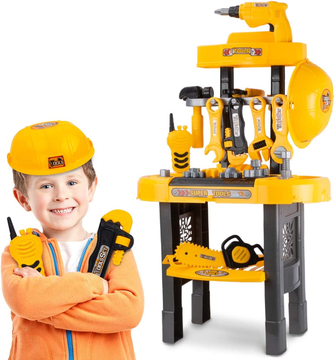 UNIH Kids Tool Bench for Boys Age 2-4, Toddlers Tool Workbench Set with Drill Toys for 2 Year Old Boys