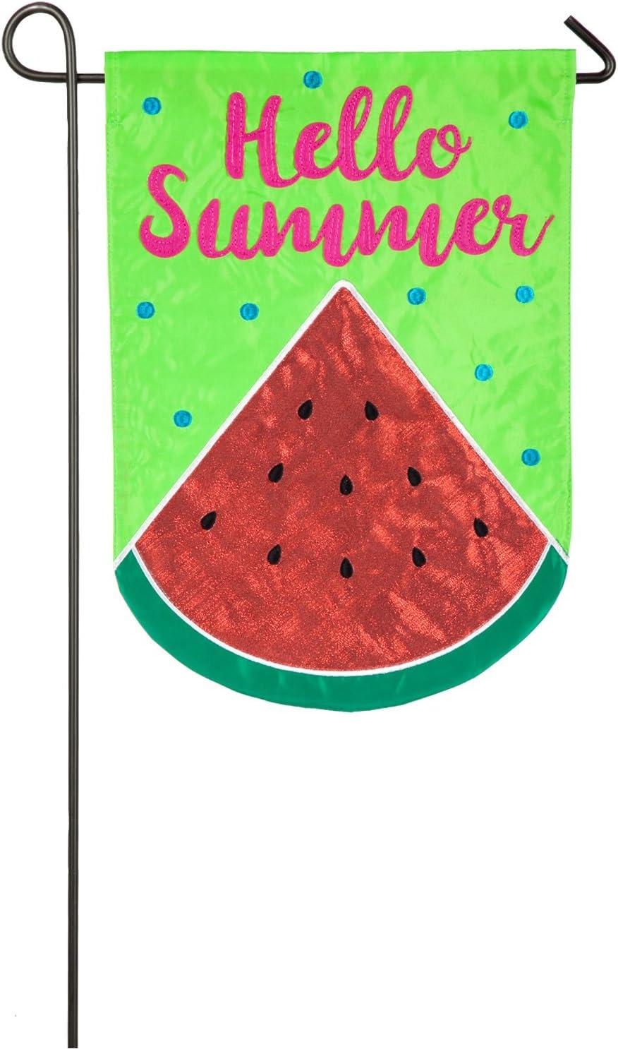 Hello Summer Watermelon Garden Applique Flag - 13 x 1 x 18 Inches