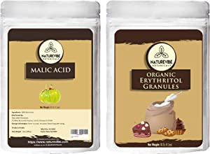 Naturevibe Botanicals Malic acid powder(1lb) and Erythritol granules (1lb) combo | non GMO and gluten free