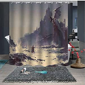 AngelDOU Medieval Decor Printed Fabric Shower Curtain Fantastic Paint of The King Walking Through The Sea Gothic Tale Myth Grunge Art Home Decorations for Bathroom