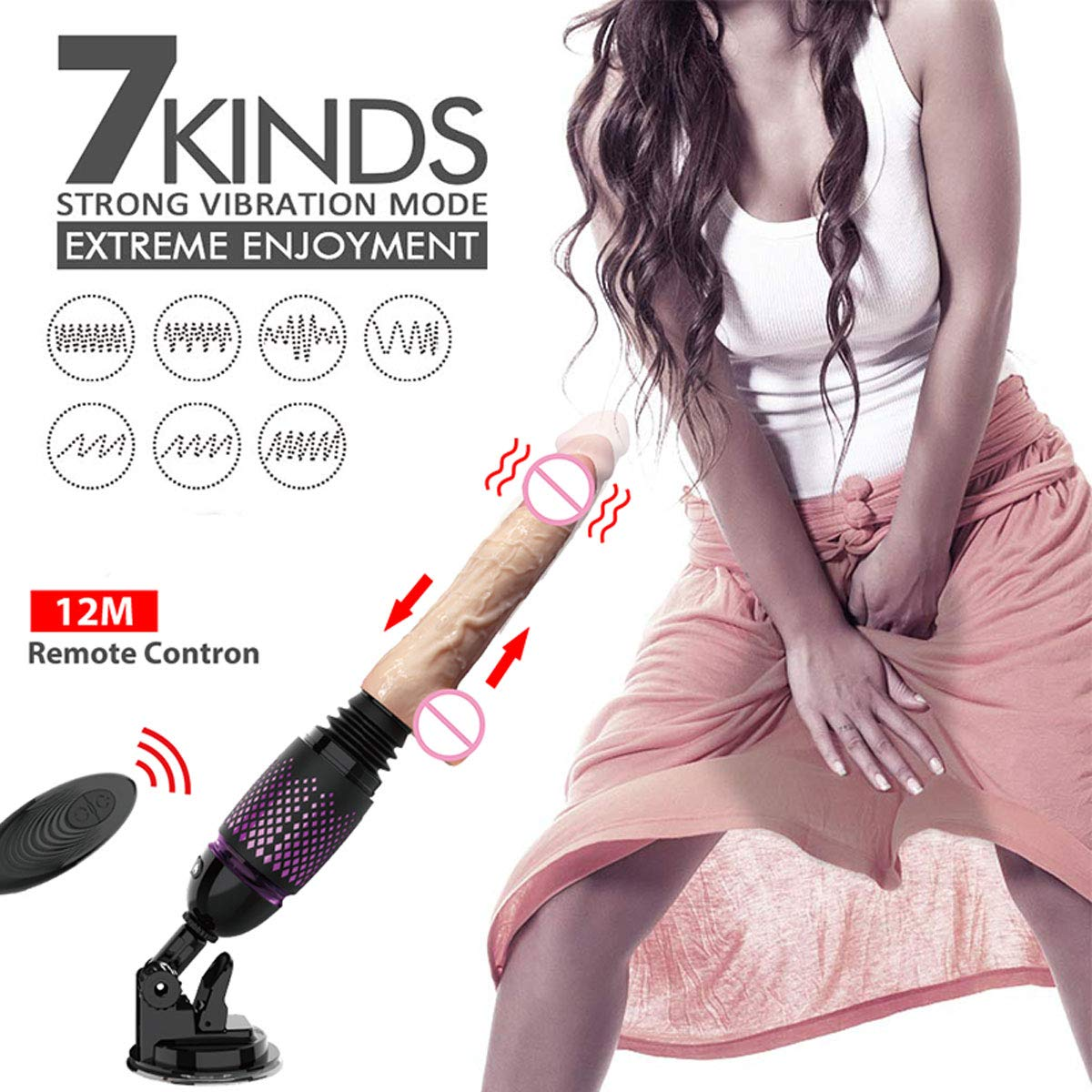 Fredorch Remote Control Sex Machine for Women, Thrusting Silicone Vibrator Rechargeable Automatic Love Machine Multi-Speed Fucking Machine with Two Vibrating Dildo (Package B) by Fredorch