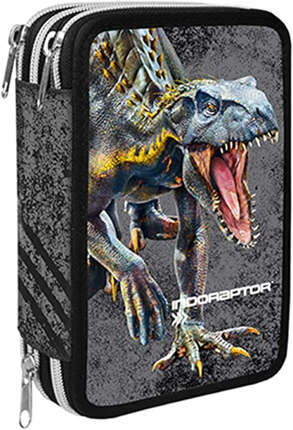 Jurassic World - Estuche escolar con 3 cremalleras, colección escolar 2019/20, licencia oficial: Amazon.es: Oficina y papelería