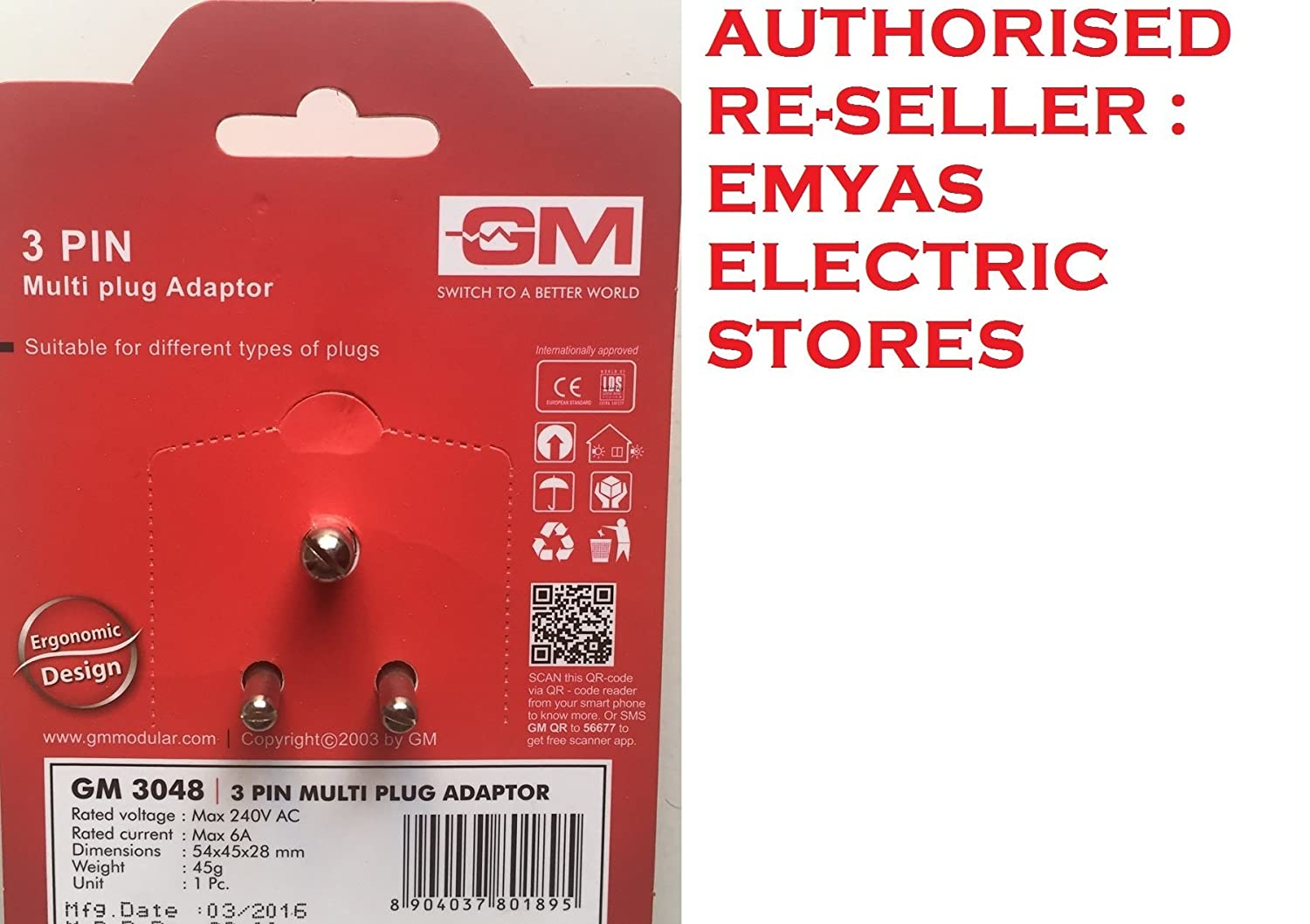 GM 3048 Plastic 3 Pin Multi Plug Travel Adaptors (White and Red)